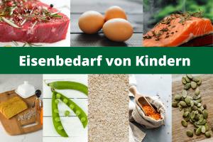 Eine Fotocollage mit Fotos eisenreicher Lebensmittel