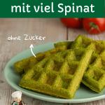 Waffeln mit viel Spinat für Babys und Kinder, auf einem grünen Teller