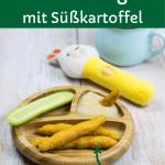 Einfache Dinkelstangen für Babys mit Süßkartoffel, auf Babyteller mit Gurke