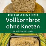 Einfaches Rezept für Vollkornbrot ohne Kneten, mittig aufgeschnitten und in einer Brotbackform
