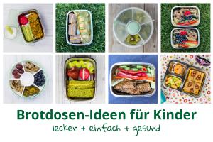 Acht verschiedene Bilder mit Ideen für die Kinder-Brotdose