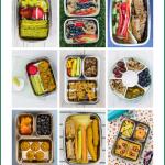Neun verschiedene Bilder mit leckeren, einfachen und gesunden Ideen für die Brotdose für Kinder