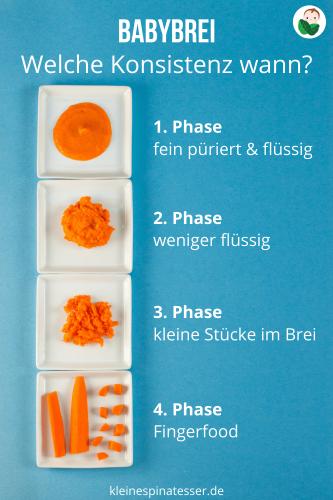 Konsistenz der Babynahrung - Übersicht der 4 Phase, von feinem Babybrei über gröberem Babybrei hin zu Fingerfood