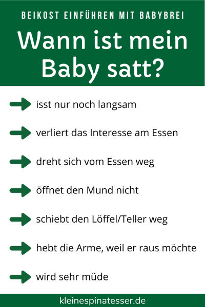 Übersicht mit 7 typischen Signalen, wie ein Baby bei der Beikosteinführung zeigt, dass es satt ist