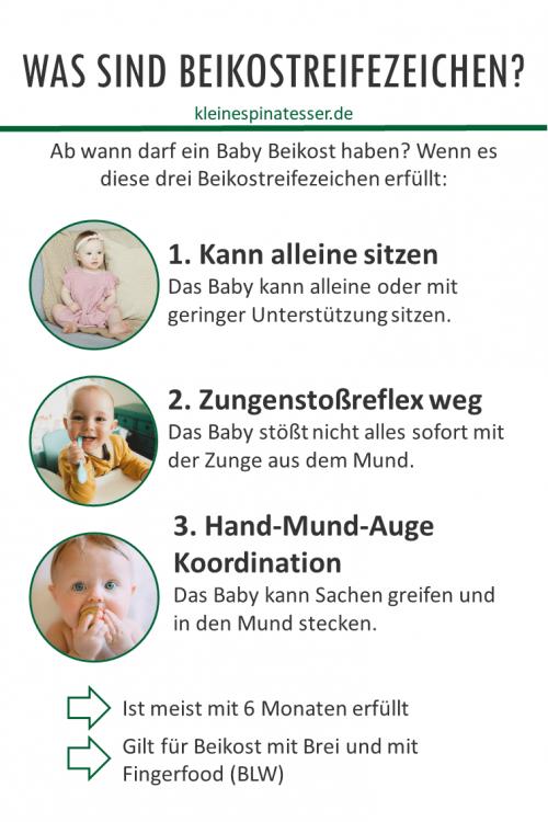Infografik, welche die Beikostreifezeichen von Babys erläutert