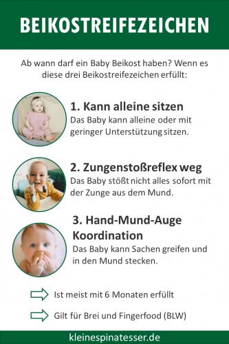 Übersicht der 3 Beikostreifezeichen die zeigen, wann ein Baby Beikost essen kann