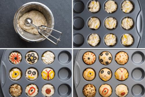 Zubereitung von Focaccia Brötchen in vier Bildern, Teig portionieren mit einem Eisportionierer, den Teig in der Muffinform mit Öl beträufeln, den Teig belegen und die Muffins bzw. Brötchen backen.